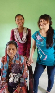 Sarita (right) with clients of an Ear Camp